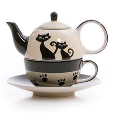 HuesNBrews Cattitude Ivory Tea for one