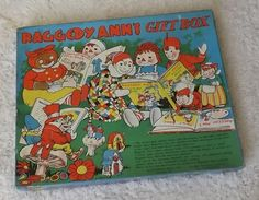 RARE 1940 Johnny Gruelle Raggedy Ann Andy Belindy Gift Box w Paper Dolls & Books #JOHNNYGRUELLECO Paper Dolls Book, Raggedy Ann And Andy, Box, Gifts, Snare Drum, Presents, Favors, Gift