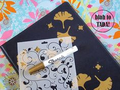 blah: an ugly presentation folder TADA!: a new look with a marker and stencils Presentation Folder, Basic Tools, Office Organization, Markers, Stencils, Recycling, Craft Ideas, Crafty, Creative