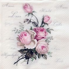 One paper napkin  vintage rose decoupage by Napkinsfordecoupage, $0.99