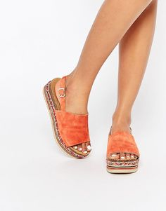 Image 1 of Faith Jarvis Coral Suede Footbed Flatform Detail Sandals