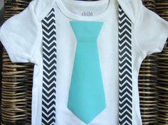 Baby Boy Clothes - Blue Tie Onesie - Black Chevron Suspenders - Coming Home Outfit - Infant Tie Onesie -