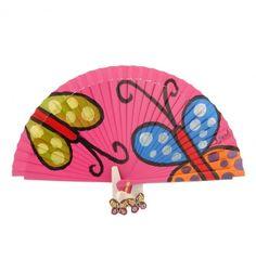 ABANICO ROSA CON MARIPOSAS COLORINES Hand Held Fan, Hand Fans, Vintage Umbrella, Textiles, Pink Purple, Party Favors, Tent, Clip Art, Alonso