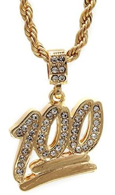 319c2976f30 Hip Hop Bling Gold Tone The Emoji 100 Pendant Free 24 Rope Chain  1068 by