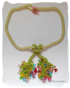 Russian Spiral Beaded Flower Necklace