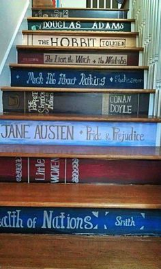 Watch Your Step! What an amazing idea! What books would you highlight on your staircase? Lots of cool stairs here.