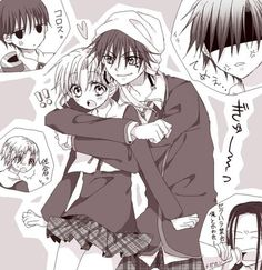 Tsubasa and Mikan.  Gakuen Alice,  everyone's expression XD Calm down Natsume, he sees her as a little sister. ;)