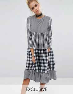 Milk It Vintage Tiered Dress With Mix & Match Gingham in mono at Asos