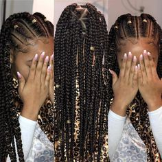 All styles of box braids to sublimate her hair afro On long box braids, everything is allowed! For fans of all kinds of buns, Afro braids in XXL bun bun work as well as the low glamorous bun Zoe Kravitz. Protective Hairstyles For Natural Hair, Braided Hairstyles For Black Women, Easy Hairstyles For Long Hair, Box Braids Hairstyles, Fashion Hairstyles, Hairstyles Games, Hairstyles 2018, Little Mixed Girl Hairstyles, Cornrolls Hairstyles Braids