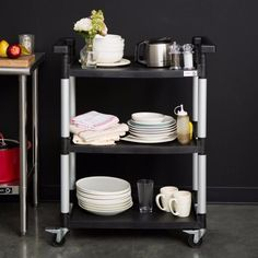 Three-Tier Polypropylene and Aluminum Wheeled Utility Cart in Black New #cart
