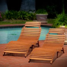 Best Selling Home Decor Molokini Wood Outdoor Chaise Lounge—Set of 2 | from hayneedle.com