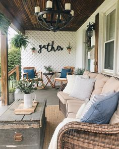We recently discussed updating patios for summer on our blog, and this space ties all of our favorite patio must-haves together so beautifully! Bold lighting, check! Textiles, check! Area rug, check! - @ourgatheredcottage has nailed it! This is an outdoor space that we would have a hard time stepping away from! Is your patio ready for summer entertaining?⠀ ⠀ #farmhousedesign #farmhouseinspired #frontporch #backporch
