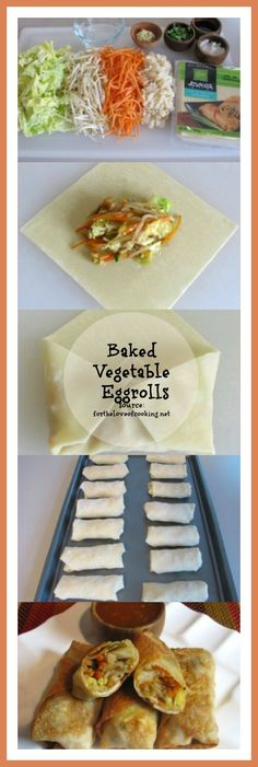 #KatieSheaDesign ♡❤ ❥▶ Baked Vegetable Egg Rolls: Recipe by For the Love of Cooking ... I Love this recipe since the egg roll wraps can really be filled with whatever you want.  So many possibilities for this recipe.  #Food #Recipes   #fcpinpartners