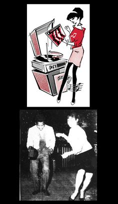 1980s, the Beat Girl graphic, from a 1960s ska image, girl dancing - for the band The Beat