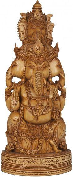 Five-Headed Ganesha in kadamba wood, from Jaipur