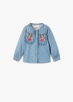 Shop the best outfits for this season at our online store. Kids Outfits Girls, Kids Girls, Girl Outfits, Baby Girl Fashion, Women's Fashion, Embroidered Denim Shirt, Baby Silhouette, Kids Wardrobe, Winter Tops