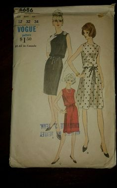 Vogue Vintage Dress Pattern 1960's #6686 size 12