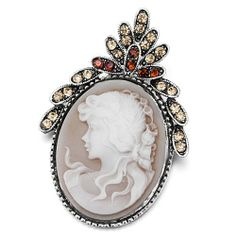 Pugster Classic Antique Lady Maiden Profile Oval Brown Beauty Cameo Crown Light Colorado Topaz Yellow Floral Swarovski Crystal Diamond Accent Brooches Pins Pugster. $12.49. One free elegant cushioned Gift box available with every order from Pugster.. Money-back Satisfaction Guarantee.. Can be pinned on your gown or fastened in your hair with bobby pins.. Exquisitely detailed designer style with Swarovski cystal element.. Occasion: casual wear,anniversary, bridal, cock...