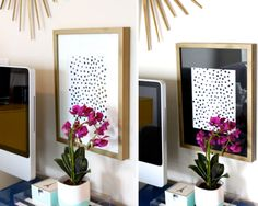 This simple DIY dot painting looks great in an office space.