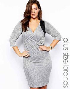 Junarose 3/4 Sleeve Color Block Jersey Wrap Dress, $66.69, ASOS | 23 Adorable Plus Size Summer Dresses Under $100