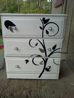 Used Pre Made Wall Stickers To Re Finish An Old Dresser