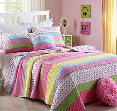 Kids' Quilt Sets - Best Comforter Set 3 Pieces Bedding Set Pink Dot Striped Floral Bedspread Quilt Sets for Girl Kids Children Cotton >>> Learn more by visiting the image link.