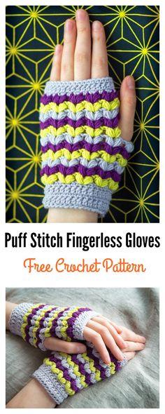 Puff Stitch Fingerless Gloves Free Crochet Pattern