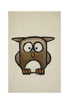 Little owl, cartoon painting, oil on canvas - by James Gaubert
