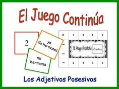 Spanish Possessive Adjective Activity for GroupsThis is a fun and interactive verb form activity that students play in a group of 2, 3 or 4. It is an inventive twist on classic memory.-Begin by printing out the game board and the individual cards. -Cut and separate the cards into two piles, subject/noun cards and possessive adjective/noun cards.