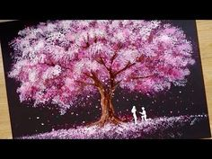Bath Sponge & Q-tips painting technique / How to draw Romantic Couple beside tree - Painting Techniques Q Tip Painting, Sponge Painting, Acrylic Painting Techniques, Painting Clouds, Couple Painting, China Painting, Gouache Painting, Cherry Blossom Painting, Cherry Blossom Tree