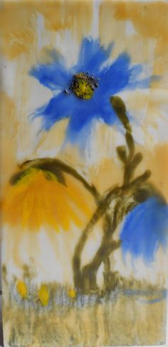 Beautiful and bright encaustic flower painting with by ZOBESTUDIO