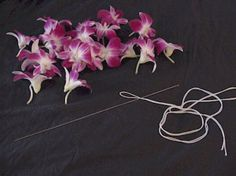Instructions on how to make a basic fresh orchid lei