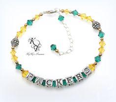 Packers Bracelet, Greenbay Packers, Packers Jewelry, Football Jewelry, Sports Team Jewelry, Football Bracelet, Packers Jewelry, Gift for Her