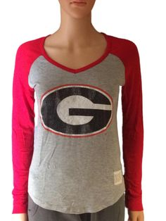 Georgia Bulldogs Retro Brand Women Red Two Tone V-Neck Long Sleeve T-Shirt