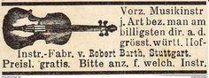 Werbung - Original-Werbung/ Anzeige 1901 - MUSIK - INSTRUMENTE BARTH - STUTTGART / MOTIV GEIGE - ca. 45 x 15 mm