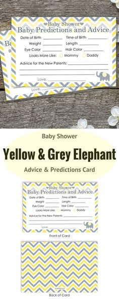 Baby Shower Advice and Predictions Cards - for Up to 20 Guests. Yellow and Gray Elephant Theme is Perfect for Gender Neutral Baby Showers.
