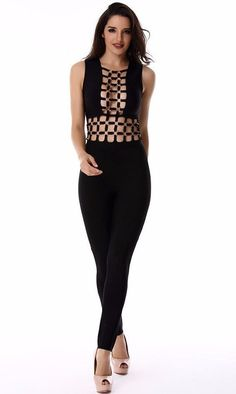 68e7f0595739 Long sleeveless caged up see through solid bandage jumpsuit outfit Details  Rayon