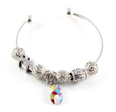 Autism Dangle & Puzzle Charm with Live Love Laugh Charm on Cuff Bracelet. Autism Awareness Charm Bracelet. Multi Charms on Bracelets, Includes all charms shown. Silver Plated. Puzzle Piece. Autism Charm Bracelet.