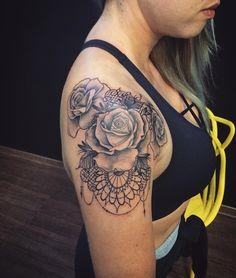 Tattoo Ideas, Tattoo Designs, 3 Tattoo, Shoulder Tattoo, Rose Tattoos, Tatting, Skull, Fancy, Ink