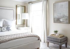 gray linen headboard with brass nailhead trim in a transitional bedroom bo. gray linen headboard with brass nailhead trim in a transitional bedroom bo. Gray Upholstered Headboard, White Headboard, Fabric Headboards, Mirror Behind Nightstand, Nightstand Ideas, Grey Walls White Trim, Home Decor Bedroom, Bedroom Night, Bedroom Ideas