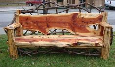 Find unique ideas for making DIY outdoor bench to decorate your garden and patio in a creative way. Make bench with wood logs,pallets,cinder Cedar Furniture, Rustic Log Furniture, Tree Furniture, Outside Furniture, Garden Furniture, Outdoor Furniture, Furniture Dolly, Handmade Furniture, Furniture Sale