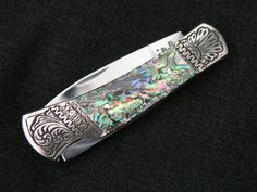 Engraved Pocket Knife Personalized Case Abalone by D.J. Riegel