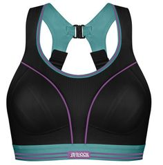 Shock Absorber Ultimate Run Bra: Designed specifically for high impact, the award-winning Ultimate RUN bra reduces bounce by up to 78% and provides ultimate friction-free comfort. The Infinity-8 support system counteracts the breasts' figure-of-eight movement during running, and soft, seamless inner reduces rubbing or chafing. Features non-slip, wide padded adjustable straps, reflective tape across cups for high visibility, and full back opening for easy on and off. Made from…