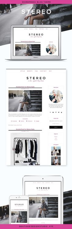 Stereo WordPress Theme by Boutique Web Design Studio | Ideal for a fashion blog, style blog, personal blog, lifestyle blog, photography blog or design blog. A stylish and modern WordPress theme that that displays beautifully on any device.