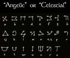 known as the Angelic Script, this alphabet is derived from Hebrew… Alphabet Code, Alphabet Symbols, Sign Language Alphabet, Ancient Alphabets, Ancient Symbols, Viking Symbols, Egyptian Symbols, Viking Runes, Occult Symbols