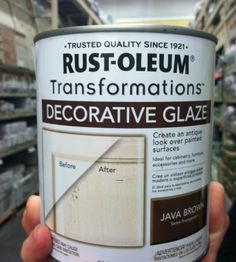 just in case i ever redo something. Rust-Oleum decorative glaze in Java Brown. for antiquing furniture. You can work with it for a long time to get the look you want. Paint Furniture, Furniture Projects, Furniture Makeover, Antique Furniture, Diy Projects, Rustic Furniture, Furniture Styles, Glazing Furniture, Furniture Market
