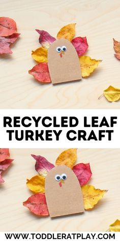 This Recycled Leaf Turkey Craft is perfect. Simple to prep, easy for little ones to make and so festive! #natureinspiredcrafts #leafcrafts #turkeycraft #thanksgivingcrafts #craftsforkids #recycledcrafts #cardboarcrafts Kindergarten Thanksgiving Crafts, Thanksgiving Crafts For Toddlers, Easy Fall Crafts, Holiday Crafts, Thanksgiving Ideas, Craft Projects For Kids, Crafts For Kids To Make, Craft Activities For Kids, Preschool Ideas