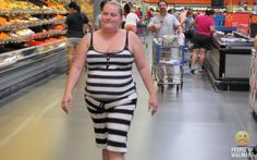 This is one of those Walmart people photos, but it's a good illustration of why only thin models should ever consider wearing horizontal stripes. I'm also wondering if she gets stopped by police thinking she's an escaped inmate.