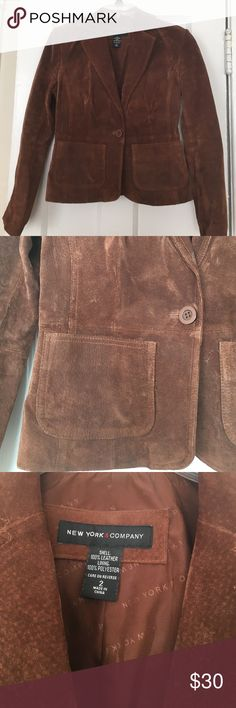 New York & Co. suede leather blazer New York & Co. suede leather blazer with two front pockets and single button. Lightly worn but great condition. Size 2. New York & Company Jackets & Coats Blazers