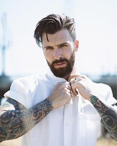 Checkout for men's outfit & lifestyle inspo . Hairstyle by – Daily Men Hairstyles Beard Styles For Men, Hair And Beard Styles, Long Hair Styles, Cool Haircuts, Haircuts For Men, Cool Hairstyles, Mens Hairstyles With Beard, Beard Haircut, Beard Tattoo